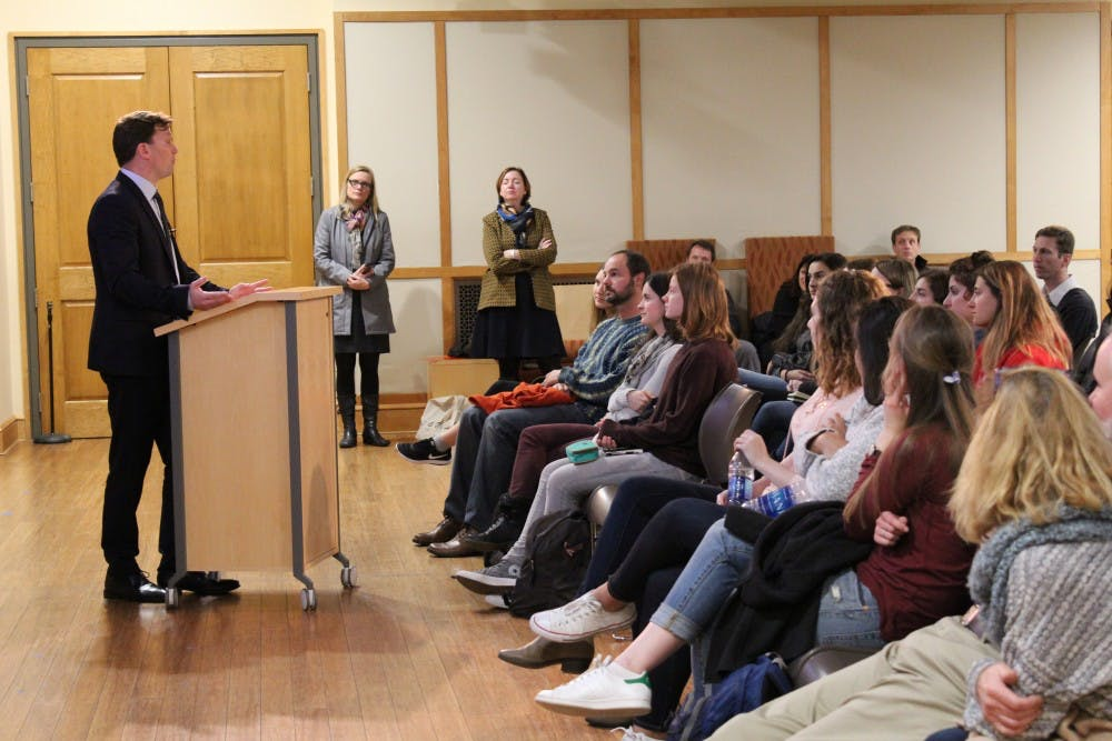 <p>His Excellency Lars Gert Lose, Danish Ambassador to the United States, addresses the University of Richmond community on Wednesday.&nbsp;</p>