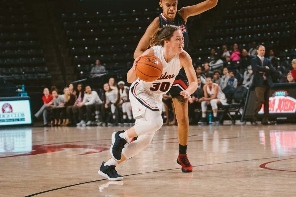 "<p>Sophmore guard Kailyn Fee goes for a layup against Howard University on Saturday, Dec. 8. <em>Photo courtesy of </em><a href=""https://twitter.com/SpiderWBBall"" target=""_blank""><em>Richmond Women's Basketball Twitter</em></a><em>.</em></p>"