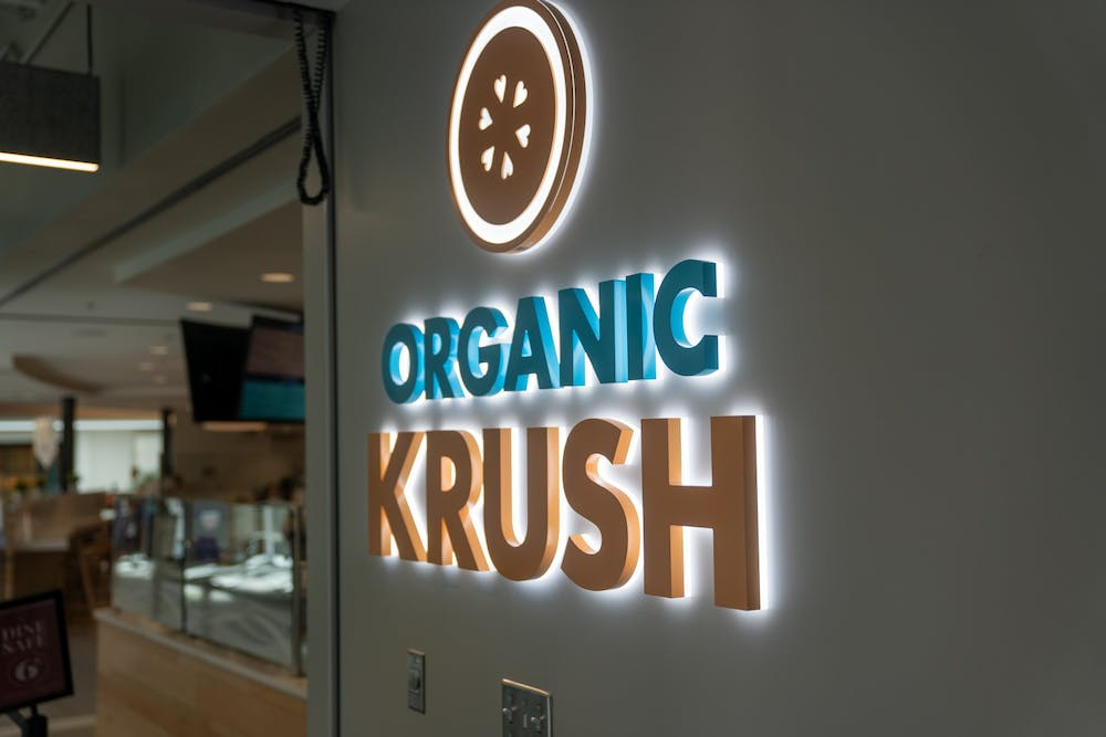 <p>The sign to Organic Krush in the Well-Being Center.</p>