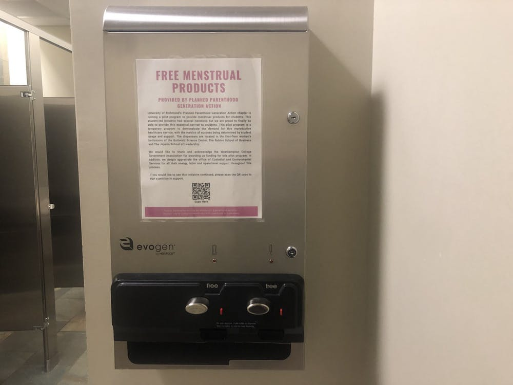 A dispenser for menstrual products, located in the first-floor women's bathroom of the Jepson School of Leadership. The dispensers were made available in certain women's bathrooms on campus due to an initiative from Planned Parenthood Generation Action.