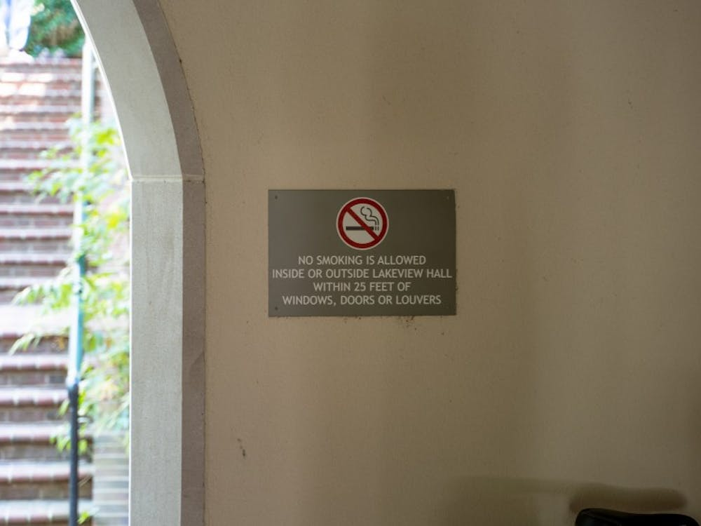 A sign outside Lakeview Hall explains the distance a person must be from the building to smoke.