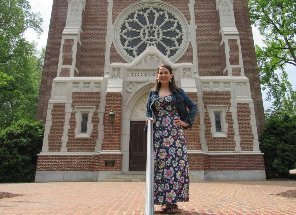 <p>Sarah Petty stands in front of Cannon Memorial Chapel. &nbsp;&nbsp;&nbsp;&nbsp;&nbsp;&nbsp;&nbsp;&nbsp;&nbsp;&nbsp;&nbsp;&nbsp;&nbsp;&nbsp;&nbsp;&nbsp;&nbsp;&nbsp;&nbsp;&nbsp;&nbsp;&nbsp;&nbsp;&nbsp;&nbsp;&nbsp;&nbsp;&nbsp;&nbsp;&nbsp;</p>