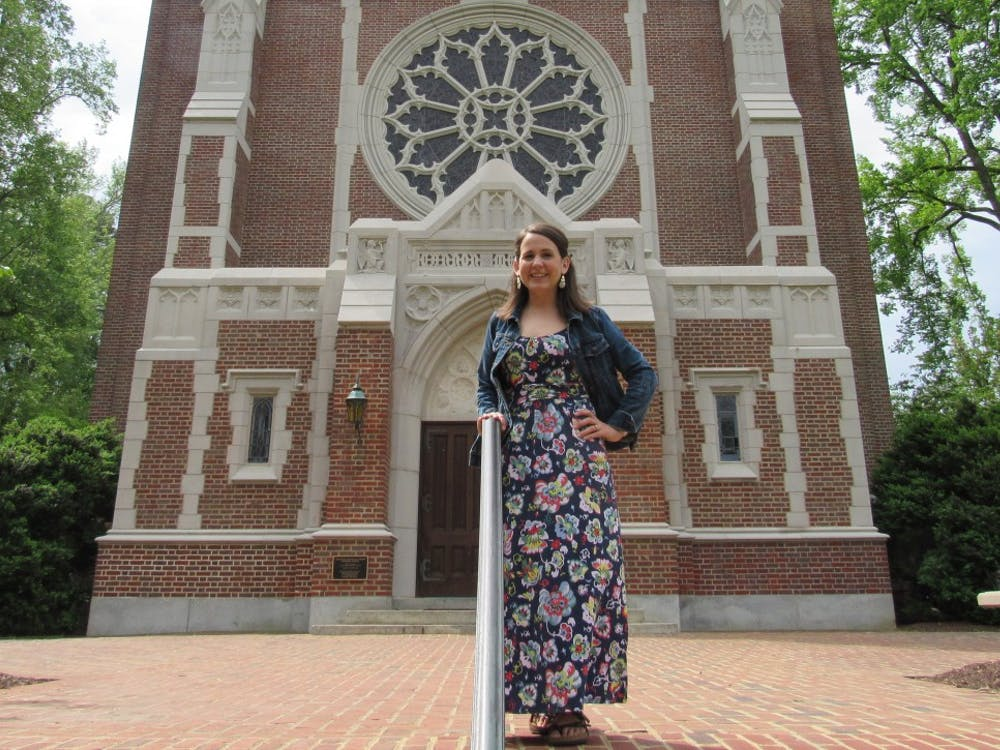 Sarah Petty stands in front of Cannon Memorial Chapel.