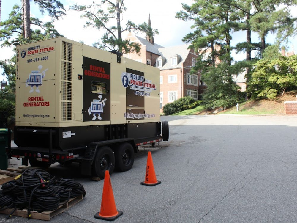 The university has located three back-up generators nearareas that are more critical to campus, including one behind Boatwright Memorial Library.