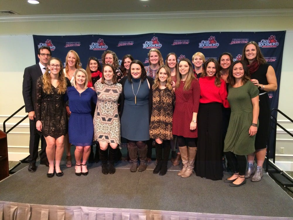 Richmond inducted the 2010-2011 women's swim and dive team Saturday at the annual Hall of Fame induction ceremony.