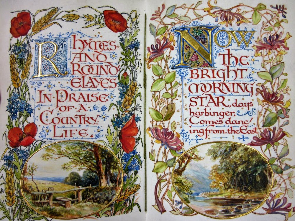 """""""Rhymes and Roundelays in Praise of County Life."""" A book of poetry hand written, illustrated and bound in 1904 by an Englishman named Alberto Sangaski. It's the only known copy in the world."""