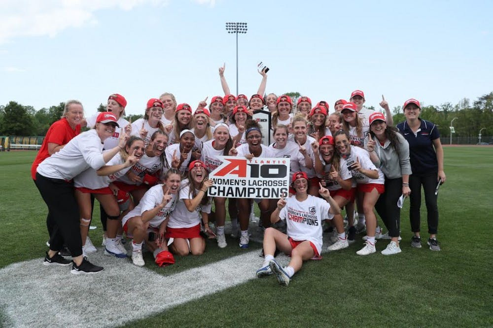 <p>Members of UR's women's lacrosse team pose for a photo after winning the Atlantic 10 Conference Tournament. <em>Photo courtesy of University of Richmond Athletics</em></p>