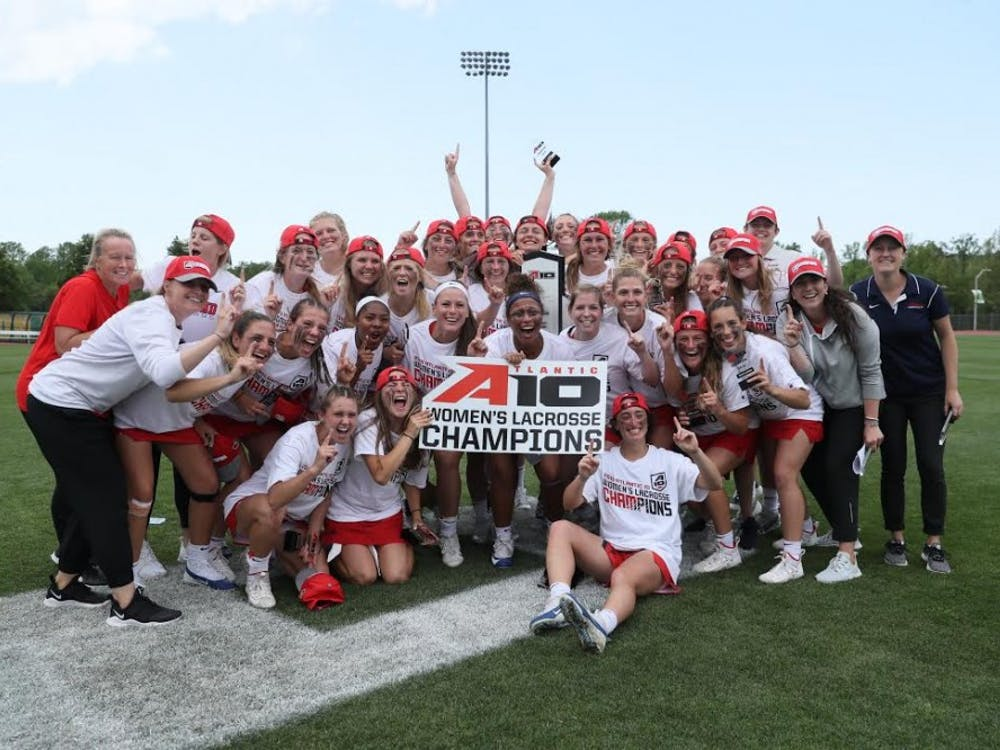 Members of UR's women's lacrosse team pose for a photo after winning the Atlantic 10 Conference Tournament. Photo courtesy of University of Richmond Athletics