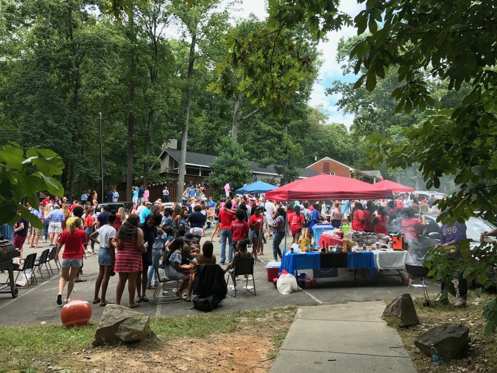 <p>Tailgate attendees on New Fraternity Row.&nbsp;</p>