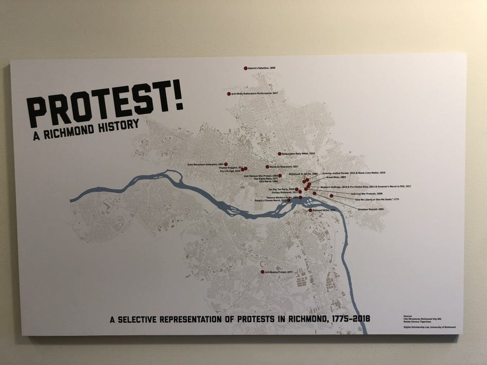 A map of the selected protests in Richmondfrom 1775 to 2018.