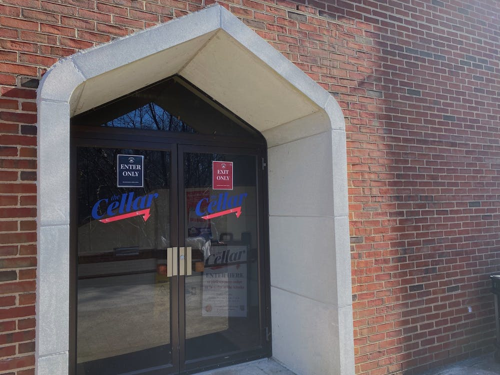 <p>The new Cellar entrance is located on the exterior of Tyler Haynes Commons. Students pick up their take-out orders here.</p>