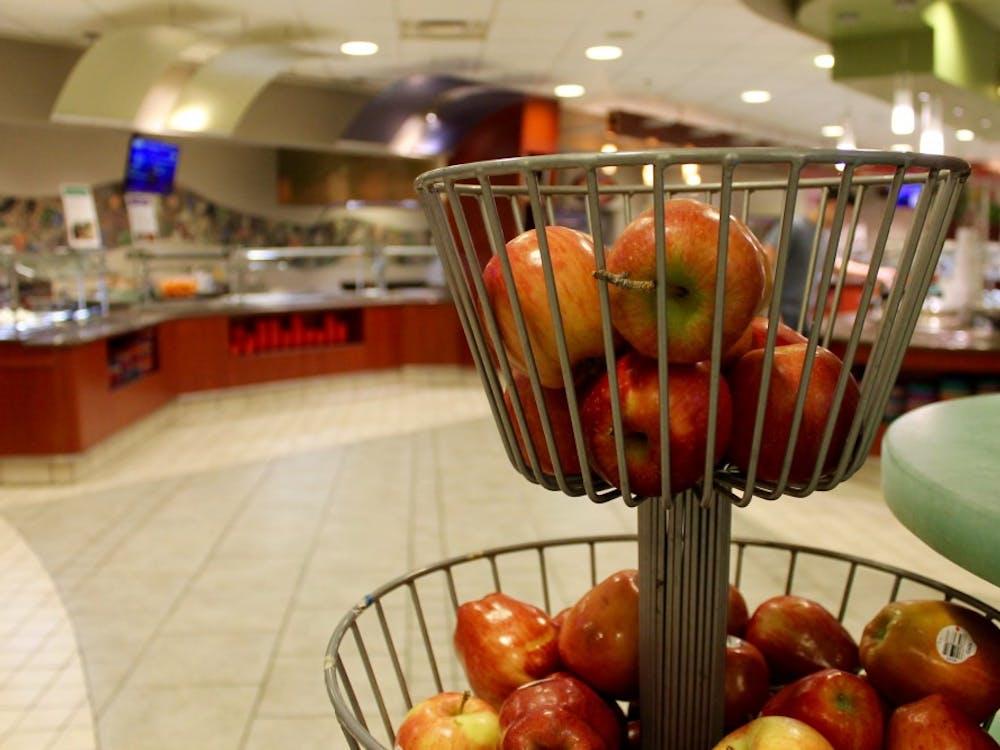 Apples sit in Heilman Dining Center.