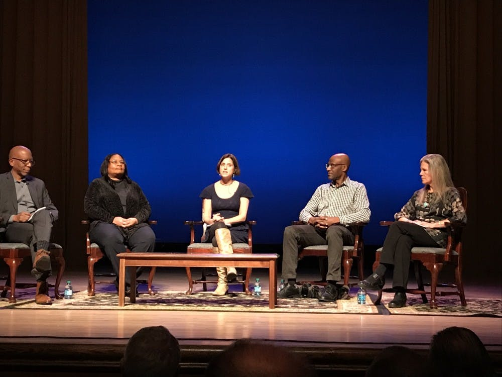 "From left, Michael Paul Williams, Elvatrice Belsches, Laura Browder, Brian Palmer and Ashley Kistler speak at a panel on new museum exhibit ""Growing Up in Civil Rights Richmond: A Community Remembers."""