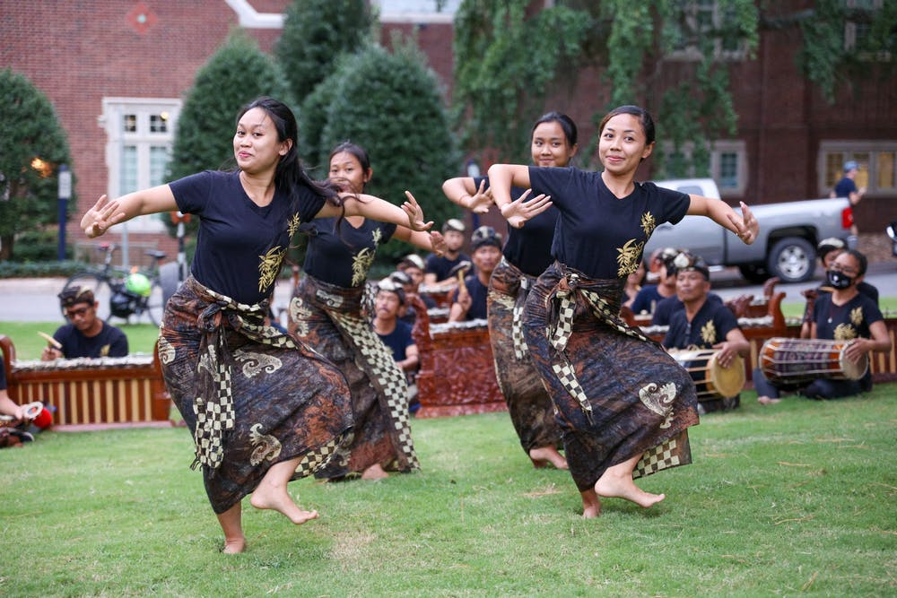 <p>Four dancers preform for the crowd at the Indonesian Culture Fair.</p>
