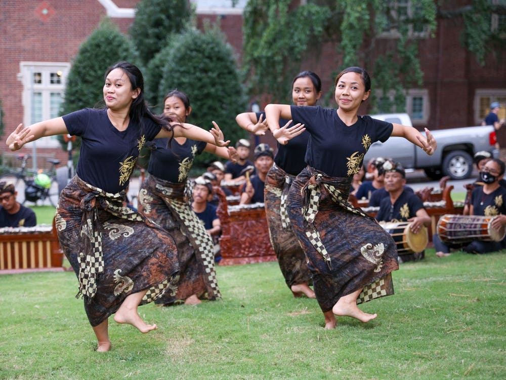 Four dancers preform for the crowd at the Indonesian Culture Fair.