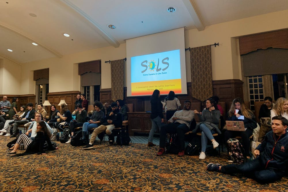 <p>University of Richmond community members gather in the Brown Alley room for a conversation about the Latinx experience. The event took place on Monday, Feb. 10, 2020.&nbsp;</p>