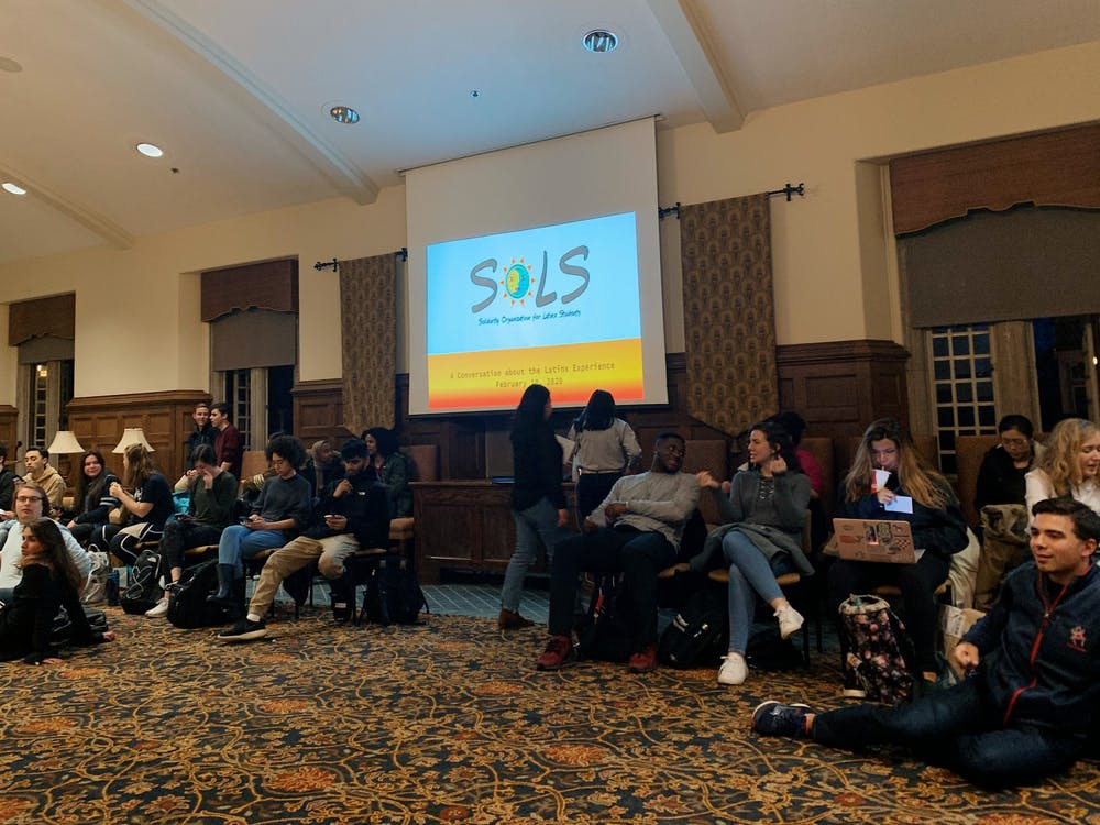 University of Richmond community members gather in the Brown Alley room for a conversation about the Latinx experience. The event took place on Monday, Feb. 10, 2020.