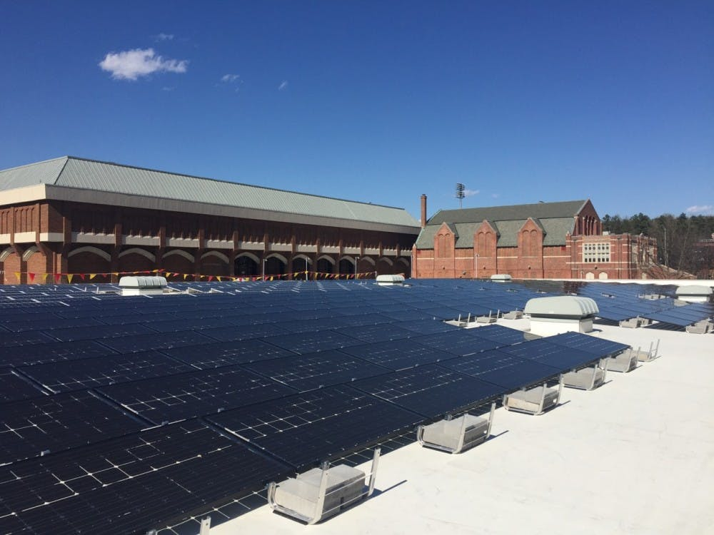Solar panels stretch across theroof of the Weinstein Center