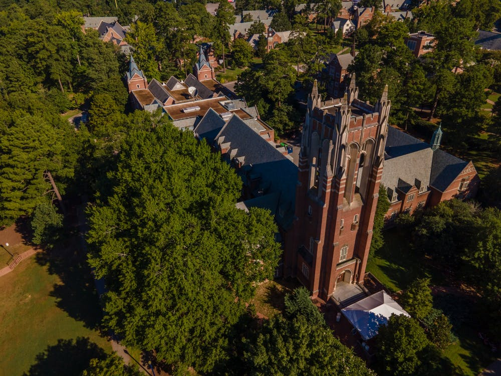 The tower at Boatwright Memorial Library gazes across campus.
