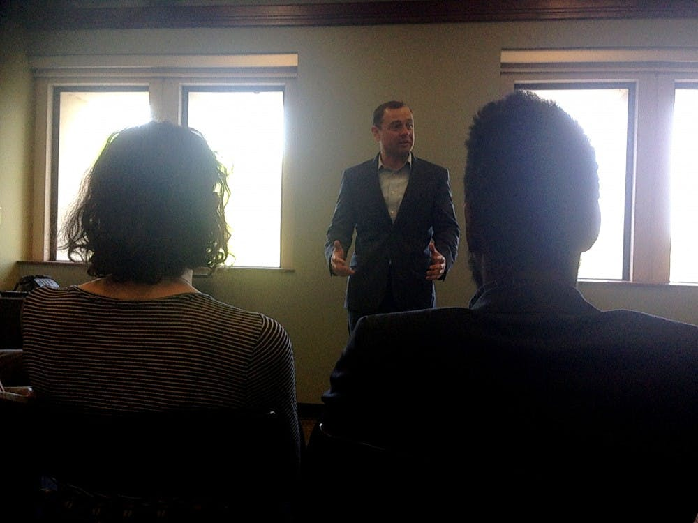 Tom Perriello,Democratic gubernatorial candidate and former congressman,spoke to University of Richmond students Thursday afternoon in THC.