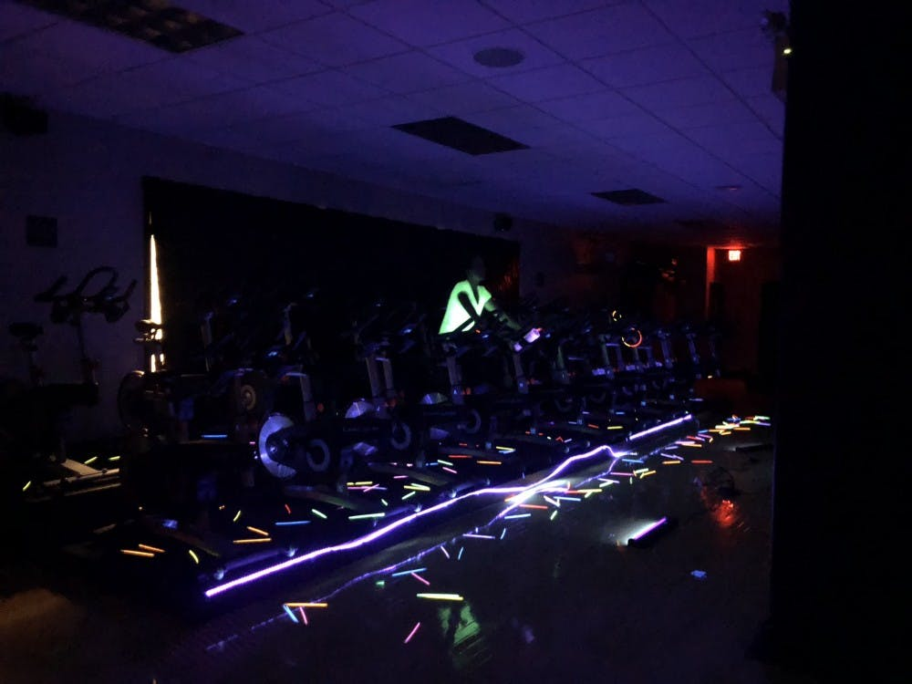 "FITsteria classes last month included the popular ""Glo Cycle"" class, which was a favorite last year."