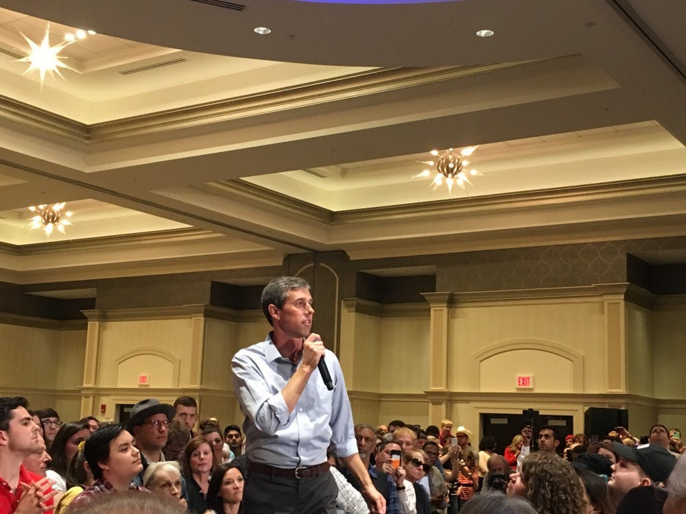 Beto O'Rourke speaks at a campaign event in Henrico.