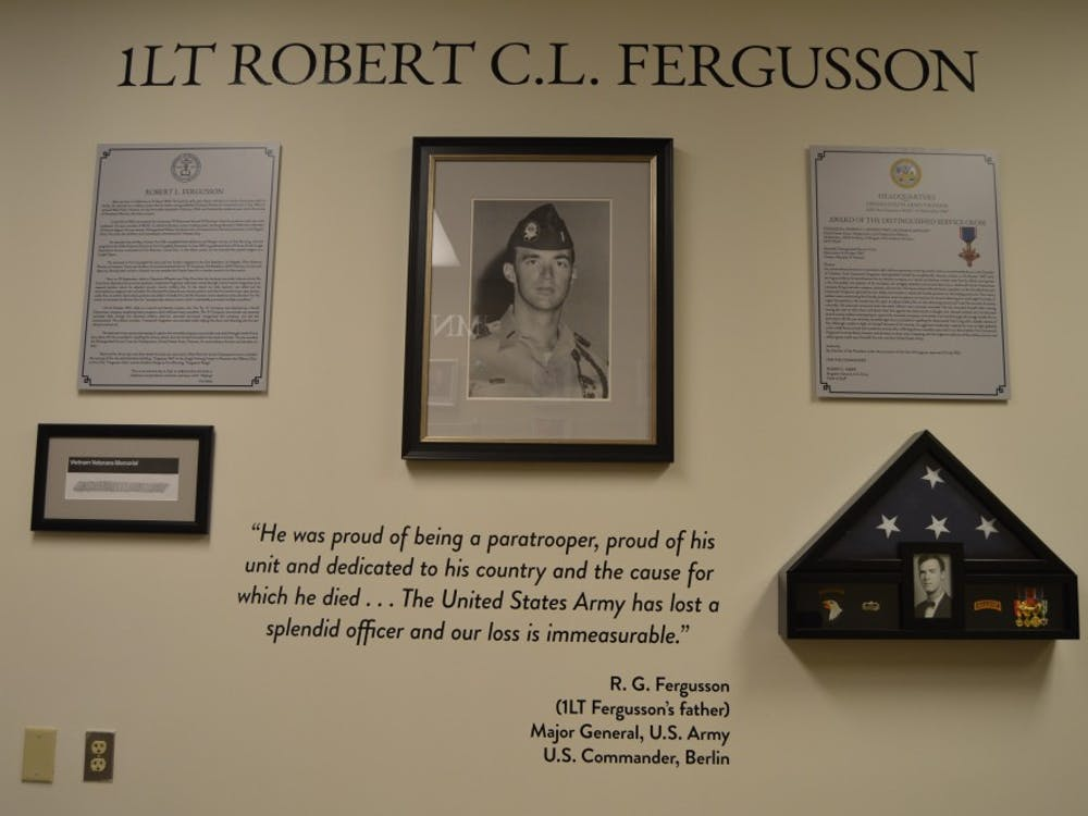 "The dedication wall for Lt. Robert ""Bob"" Fergusson located in the Millheiser Gymnasium."