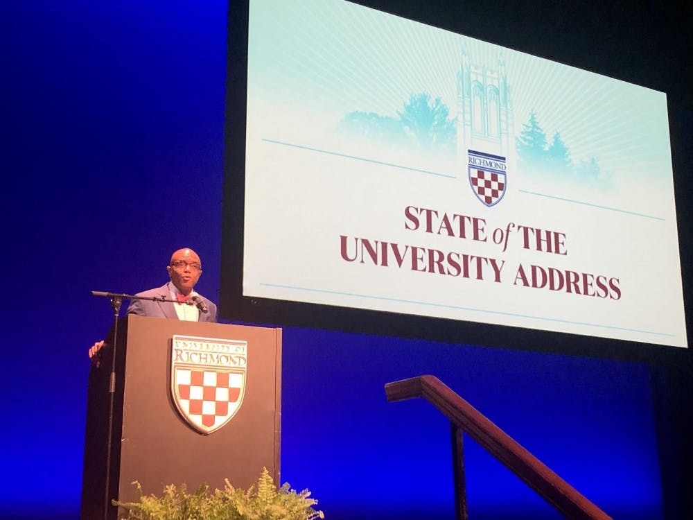 <p>President Crutcher speaks at his 2019 State of the University address.</p>