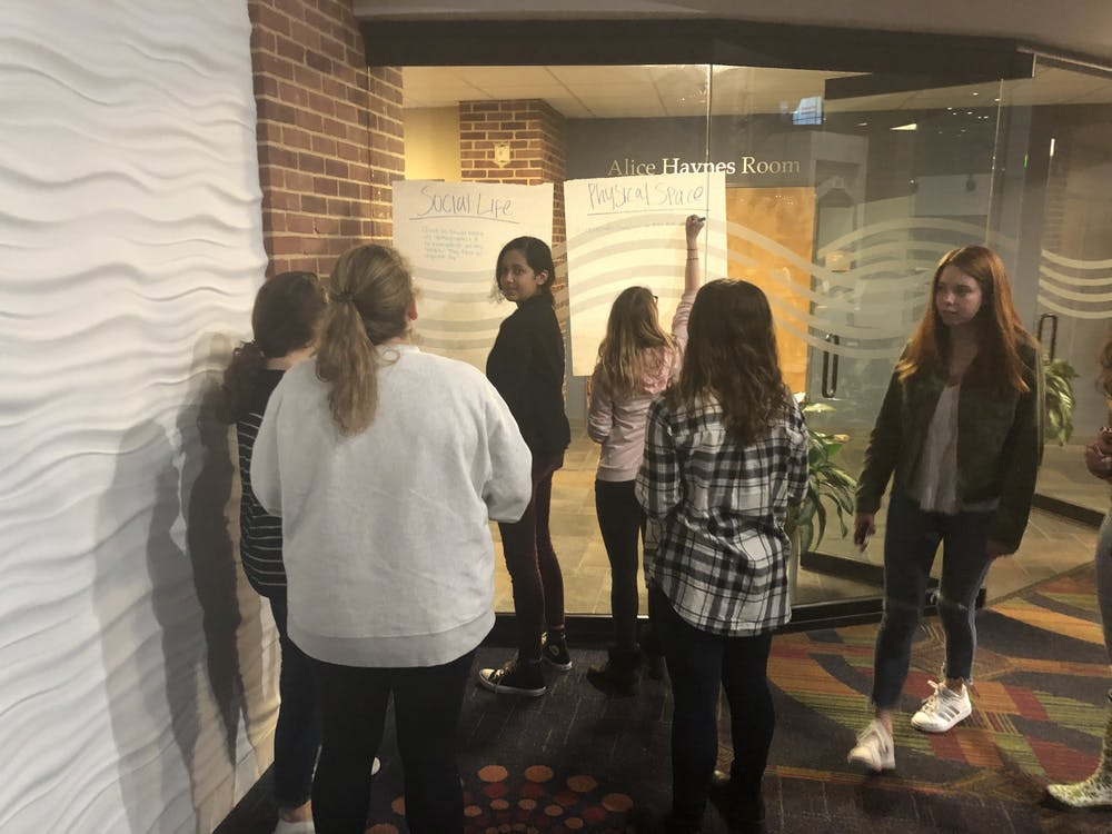 <p>Students attending the Student Solutions Workshop discuss social life and physical space.</p>