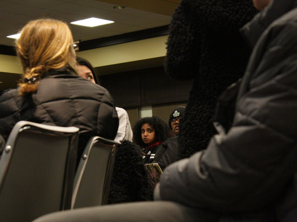 "Over 500 students, faculty members and staff members gathered in the Tyler Haynes Commons at ""No Room for Hate,"" a community meeting called in response to the recent racist incidents on campus and what many called a ""long-running culture"" of racism. The event took place on Thursday, Jan. 30, 2020."