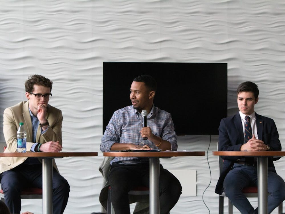 Candidate Liam McGrinder (left), current RCSGA president Tyler York and candidate Mike Laposta participated in a debate preceding the RCSGA presidential election.