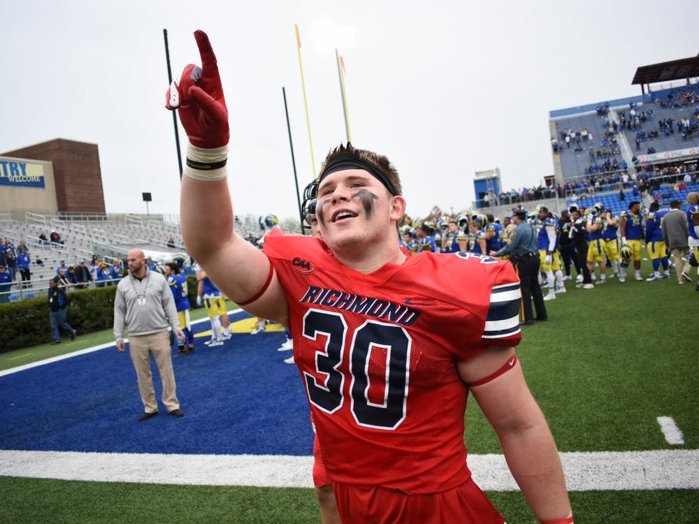 Linebacker Tristan Wheeler celebrates during Saturday, Oct. 26's game against University of Delaware. Photo courtesy of Richmond Athletics Twitter