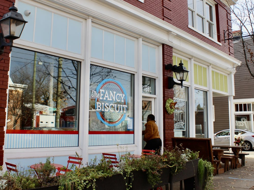 The Fancy Biscuit, located in the Fan district, is a small, trendy restaurant with a laid-back style and rustic accents serving delicious, customizable biscuits.
