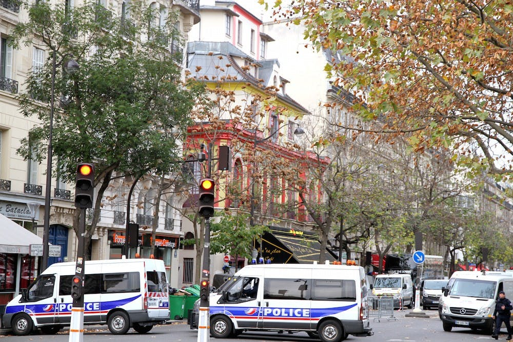 <p>Police outside of the&nbsp;Bataclan, the red concert hall&nbsp;where terrorists&nbsp;killed scores of people, after the attacks | Courtesy of&nbsp;Maya-Anaïs Yataghène/Wikimedia</p>