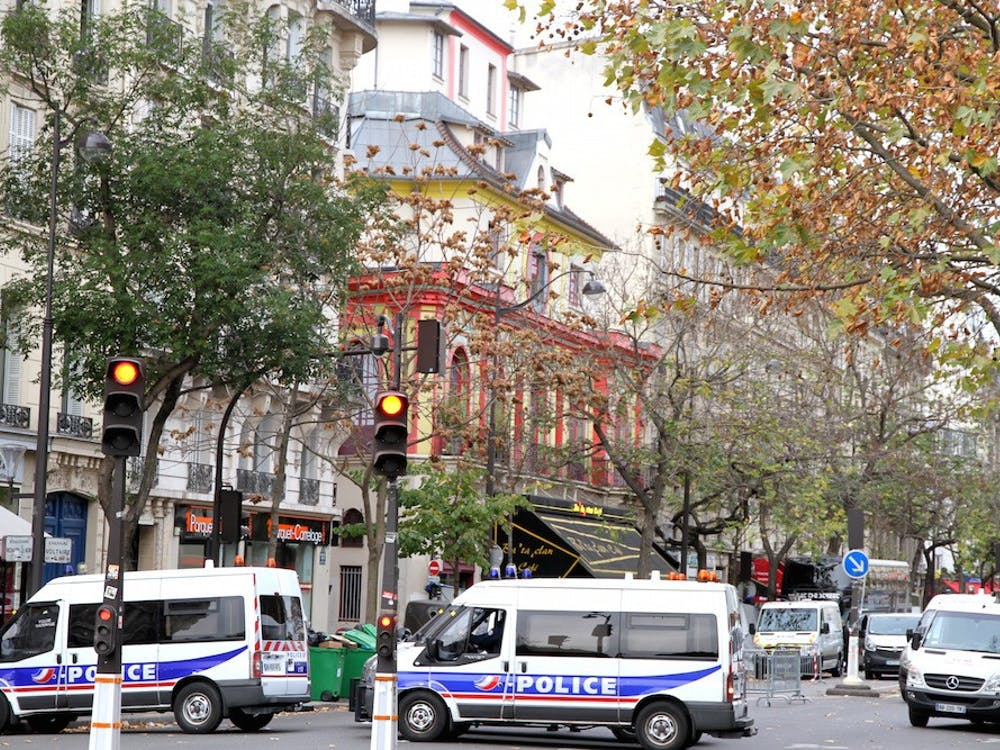 Police outside of the Bataclan, the red concert hall where terrorists killed scores of people, after the attacks | Courtesy of Maya-Anaïs Yataghène/Wikimedia