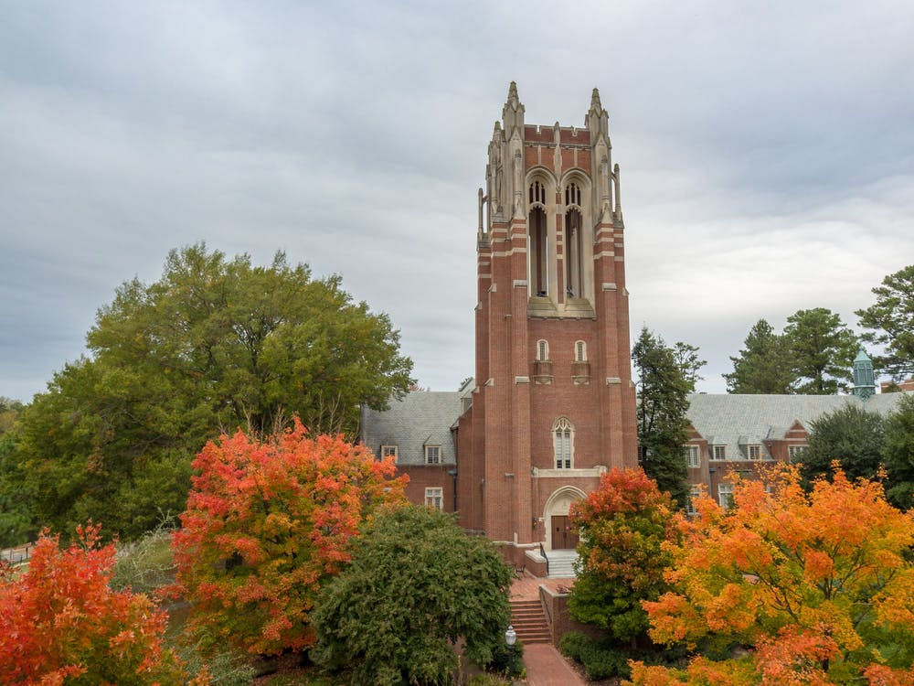 Boatwright tower in October.
