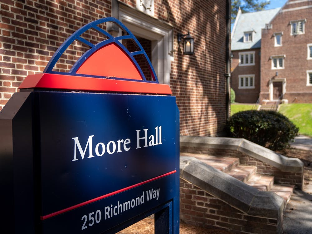 The sign outside the Moore residential hall.