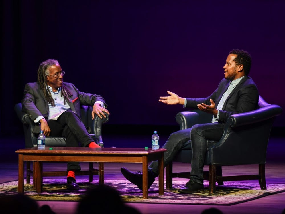 Playwright Branden Jacob-Jenkins (right) discusses a range of topics during a discussion moderated by English Professor Bertram Ashe.