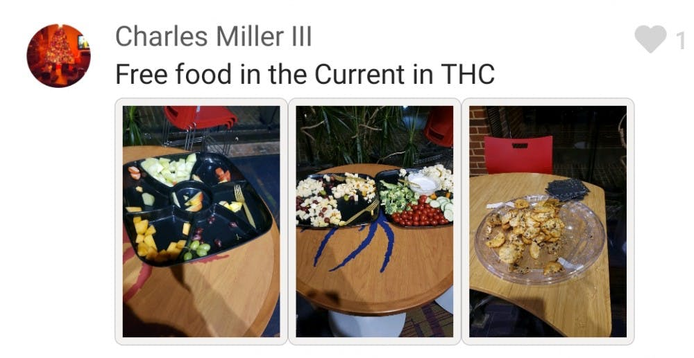 <p>Cultural Adviser Charles Miller, sophomore, posts in the Free Food at UR GroupMe after a SpiderNight event. <em>Image courtesy of the Office of Common Ground</em></p>