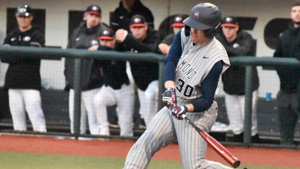 <p>First-year pitcher Alden Mathes goes to bat during the game on Friday, Feb. 28 against Georgetown University. <em>Photo courtesy of Richmond Athletics</em></p>
