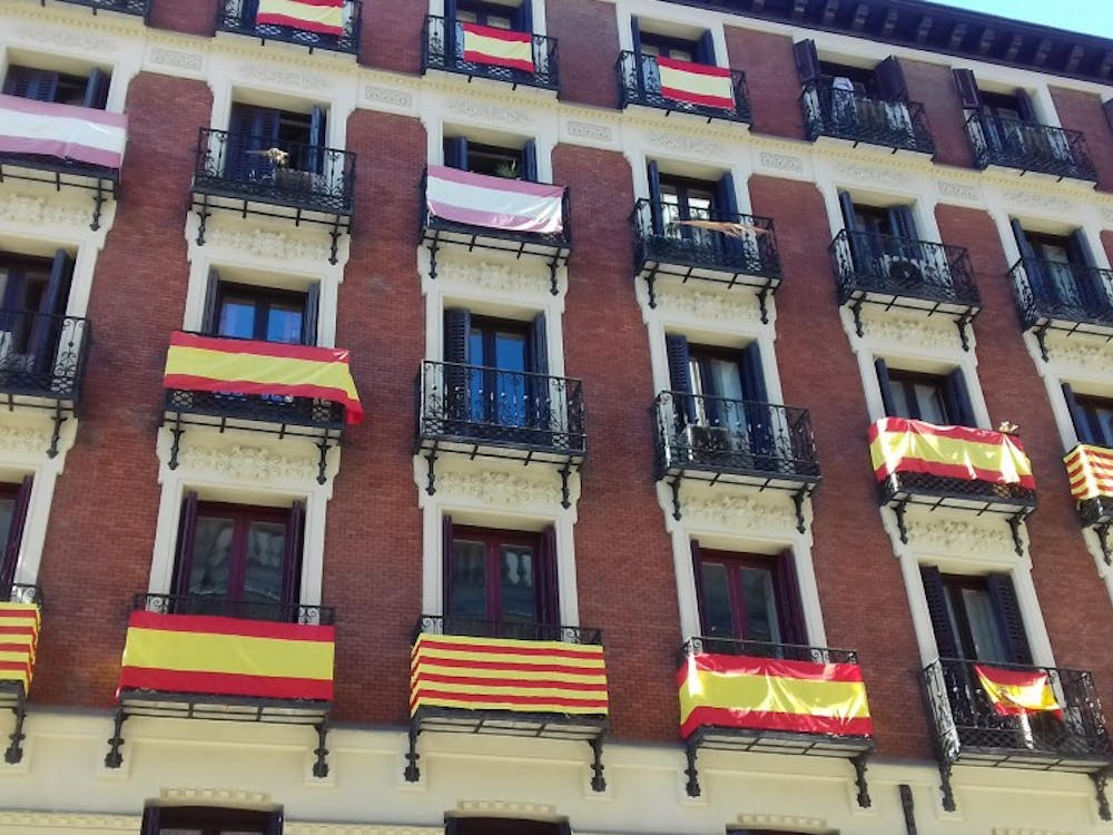Spanish flags displayed on balconies as a response to Catalan independencein Madrid, Spain.