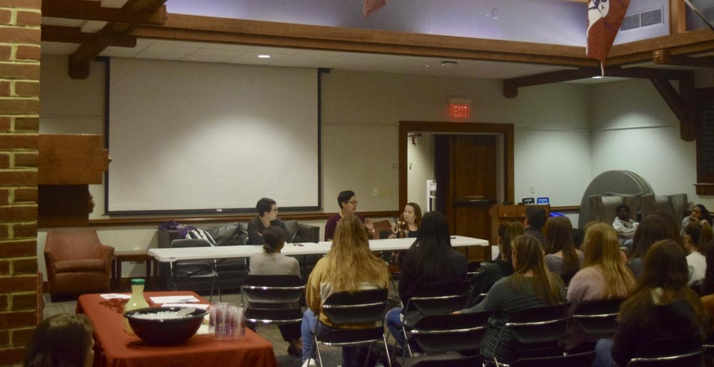 <p>Students sit for a disability awareness panel.&nbsp;</p>