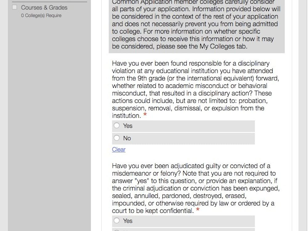The current criminal history question on the Common Application, which will no longer exist come Aug. 1. Image via the Common Application.