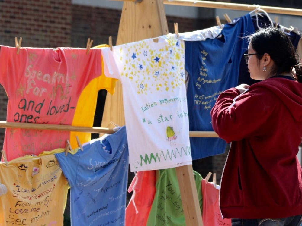 The Clothesline Project was displayed in the Forum on April 10, 2018.