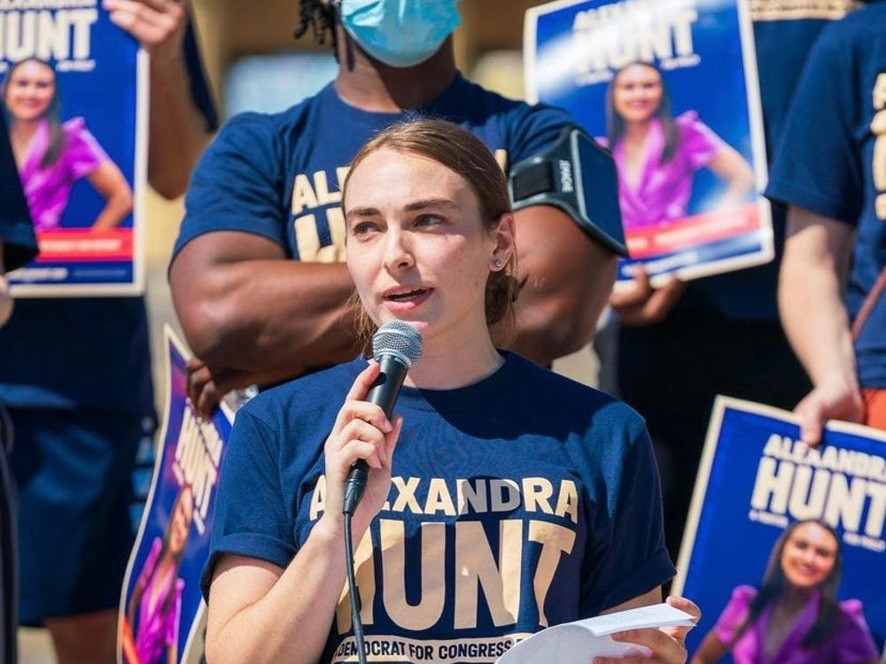 Alexandra Hunt speaking at her Bike Every Block campaign event in Philadelphia, Pennsylvania on Sept. 25. Photo courtesy of Hunt's campaign Instagram account @alexandrahuntforcongress.
