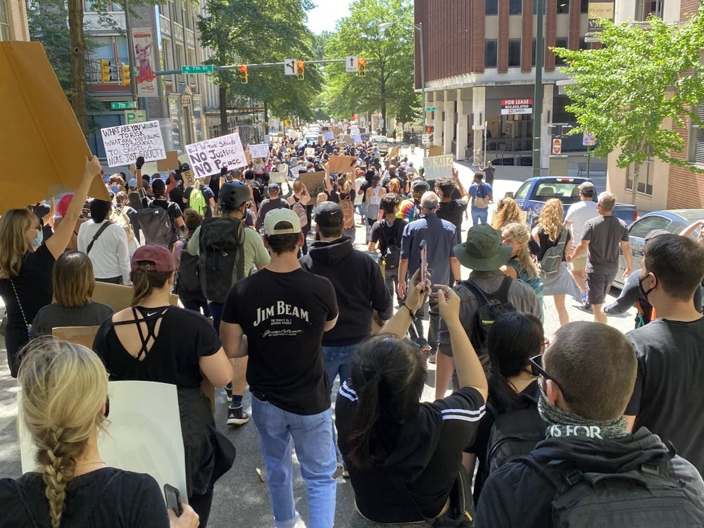 A small representation of the protests that took play Sunday May 31, where approximately 900 people protested at N. Seventh Street.