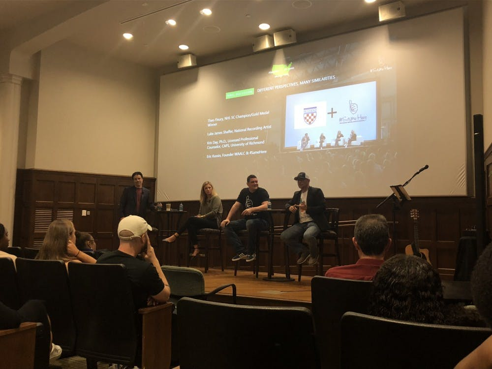 "<p>From left, Darren Rovell, Dr. Kristen Day, Eric Kussin and Theo Fleury participated in the ""We're All a Little Crazy"" discussion on mental health Tuesday in Ukrop Auditorium.&nbsp;</p>"