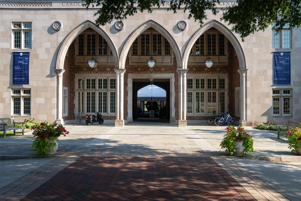 <p>&nbsp;A popular social spot on campus, the Weinstein International Center has added a tent to its courtyard for students to eat outside when it rains and maintain social distance.&nbsp;</p>