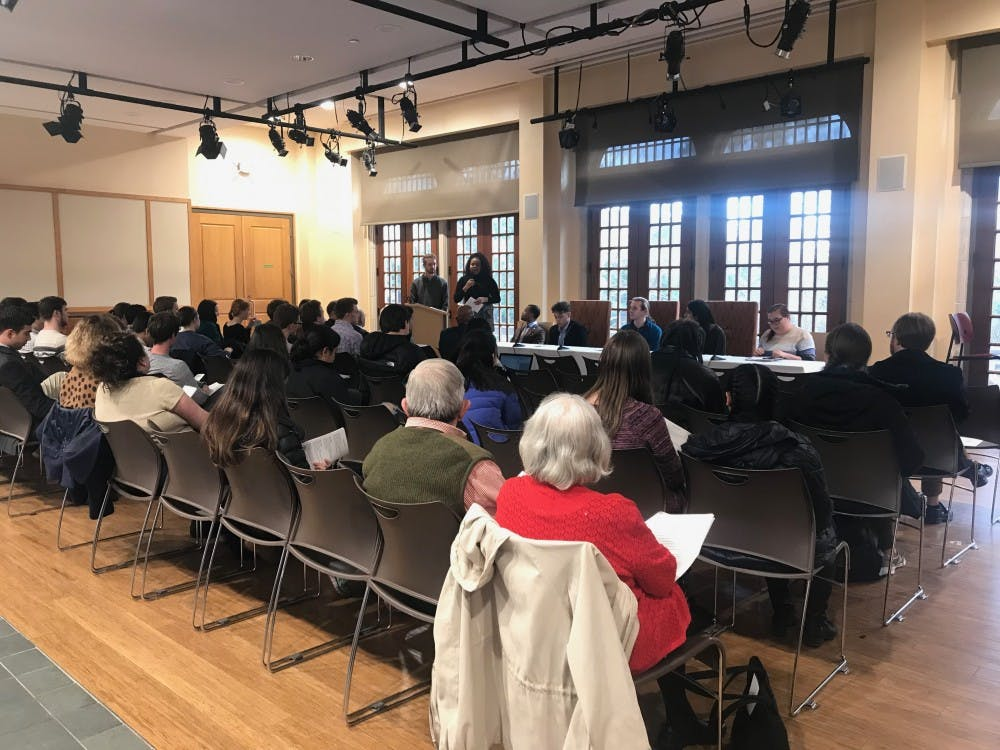 <p>Panelists speak at Fostering Difficult Dialogues event.&nbsp;</p>