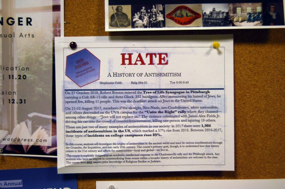 "<p>A flyer for ""Hate: A History of Antisemitism,"" a new religious studies class that is being offered next spring.&nbsp;</p>"